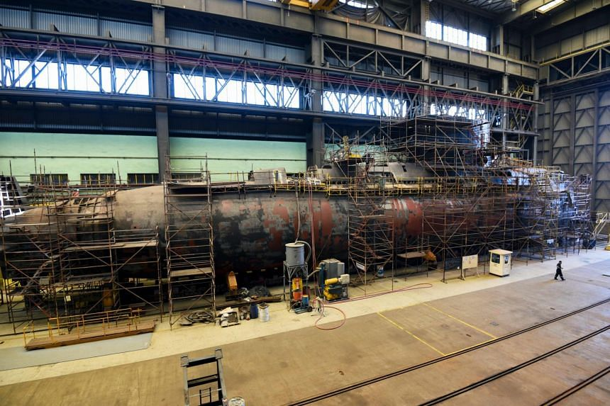 Argentina's Navy submarine ARA Santa Cruz, twin of missing submarine ARA San Juan, is pictured under repair at the state-operated Tandanor shipyard in Buenos Aires on Dec 26, 2017.