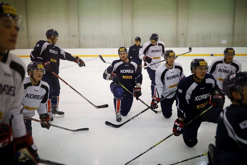 The  South Korean national ice hockey team at a training session in Jincheon, South Korea, on Dec 1, 2017.