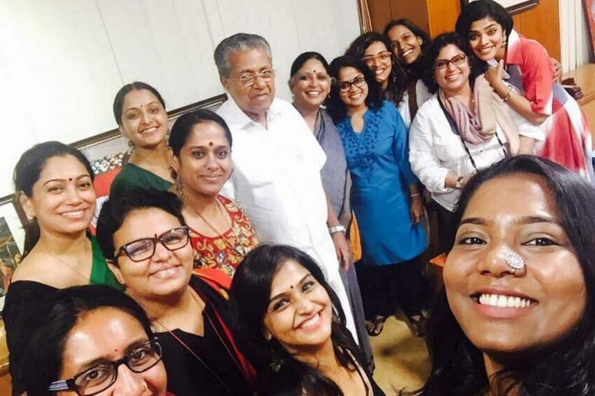 The Women in Cinema Collective meeting Kerala chief minister Pinarayi Vijayan (centre).