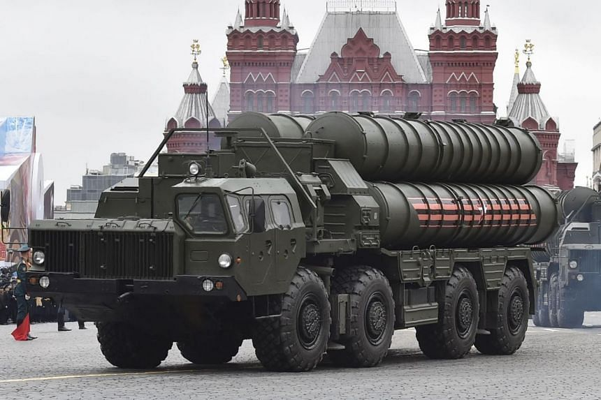 Russian S-400 Triumph medium-range and long-range surface-to-air missile systems riding through Red Square during the Victory Day military parade in Moscow on May 9, 2017.