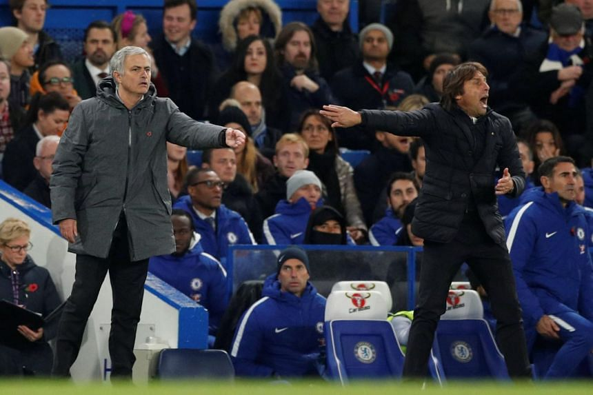 Chelsea manager Antonio Conte (right) and Manchester United manager Jose Mourinho on the touchline at Stamford Bridge on Nov 5, 2017.