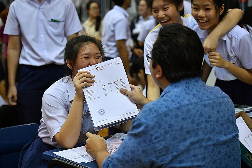 Students receiving their O-level results at Presbyterian High School yesterday. The proportion of O-level candidates with at least five passes last year fell to 83.4 per cent, compared with 84.3 per cent in 2016.