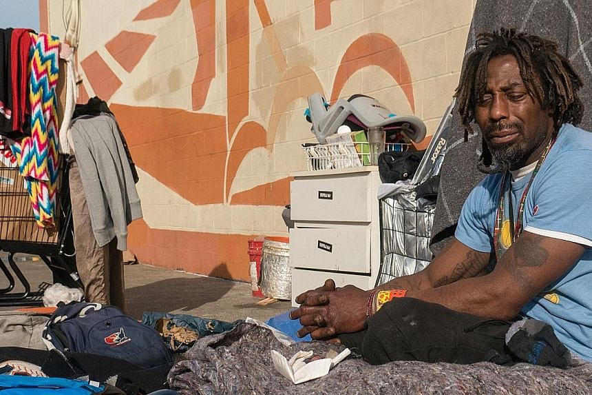 """Mr """"Kaels"""" Raybon has been living on the streets of San Francisco since he was released from jail more than 15 years ago. The streets of San Francisco are home to some of the US' half a million urban homeless. Homelessness is only the visible tip of"""