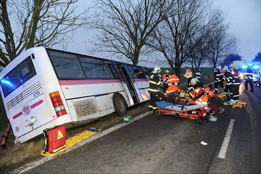 The collision happened between a public transport bus and a car in a Prague suburb.