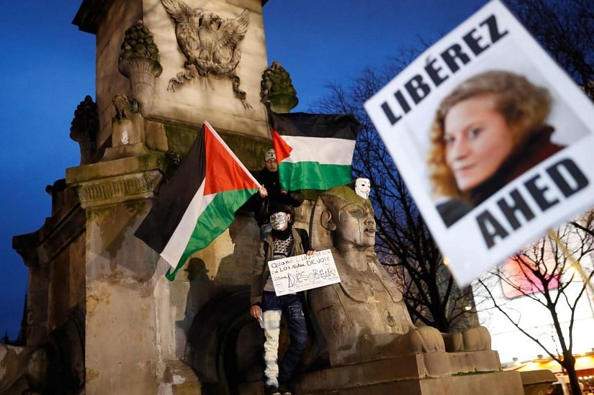 A protest being held in Paris on Jan 4, 2018, for Palestinian teenager Ahed Tamimi.