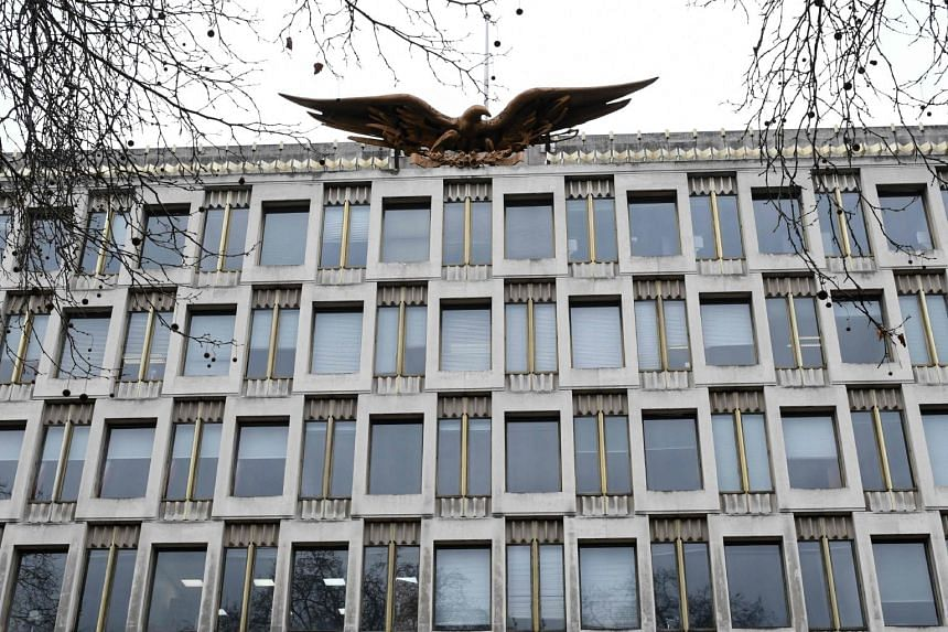 An eagle sculpture designed by Theodore Roszak sits on the roof of the US embassy in Grosvenor square in central London, on Jan 12, 2018.