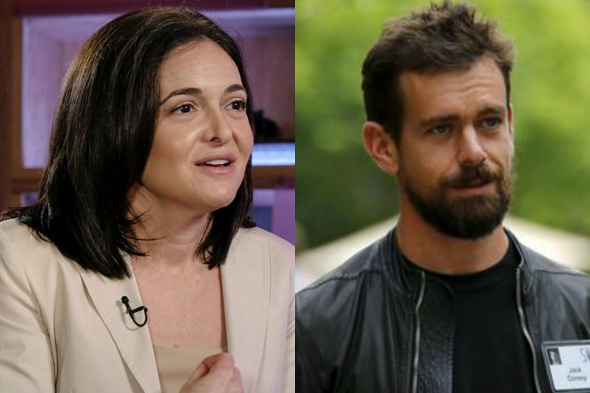 The departures of Facebook Chief Operating Officer Sheryl Sandberg (left) and Twitter Chief Executive Jack Dorsey will  take effect in March at the time of Disney's annual meeting.