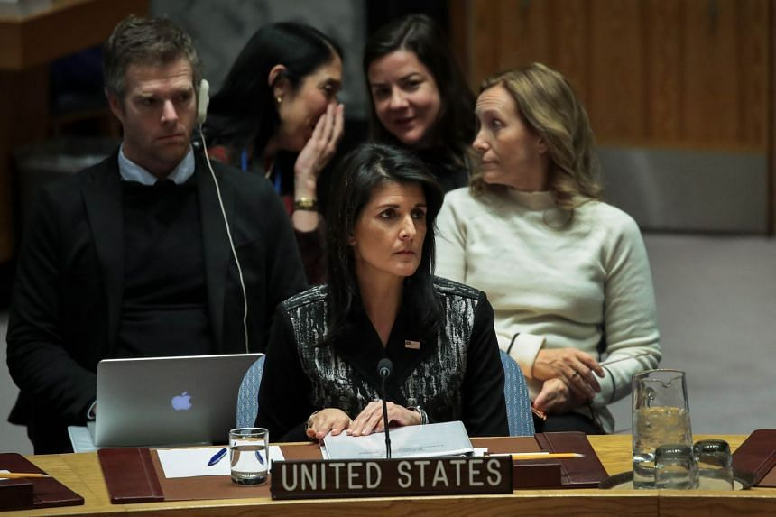 Nikki Haley speaks during a UN Security Council meeting, on Jan 5, 2018 in New York City.