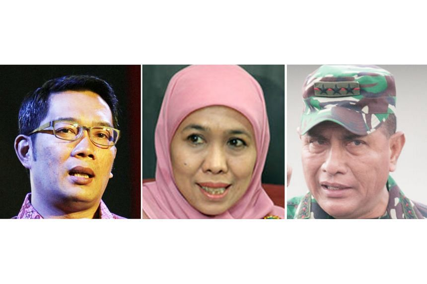 (From top) Bandung Mayor Ridwan Kamil, Minister for Social Affairs Khofifah Indar Parawansa and former commander of the army strategic reserves Edy Rahmayadi are some of the more visible candidates vying to be the governor of West Java, East Java and