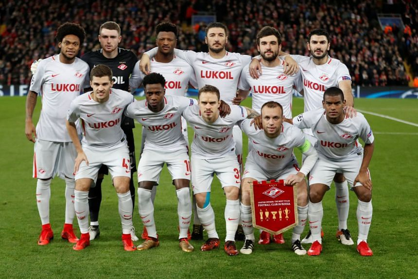 Spartak Moscow pose for a team photo before playing Liverpool in the Champions League on Dec 6, 2017.