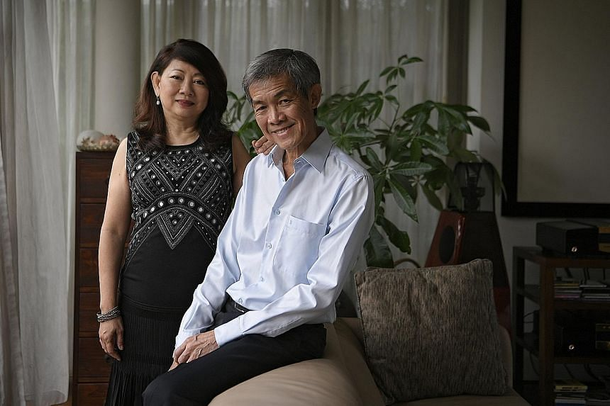 Mr Daniel Chan and his wife Penelope Gan, 62, a homemaker. The CEO of DCG Capital says his focus is to seek out long-term compounders and sit on them. But he also diversifies his sources of returns, for example by investing in high-dividend-yielding