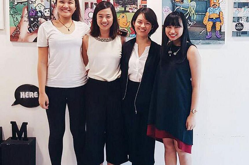 (From left) NTU undergraduate Lynn Chia and students Hilary Tan, Nowell Ng and Ho Xin Er have started a social media movement called The Standby Collective, following Ms Chia's traumatic experiences.