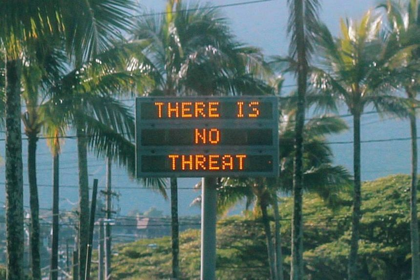 An electronic sign in Oahu, Hawaii, after a false emergency alert on Jan 13, 2018.