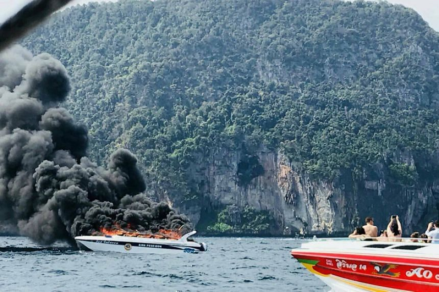 The speedboat was believed to have caught fire due to a fuel leak.