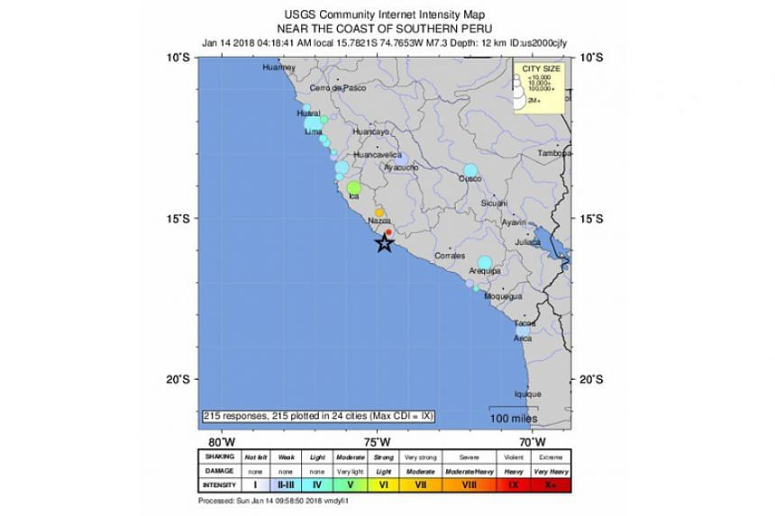 The 7.1 magnitude quake hit at 4.18am local time (0918 GMT) at a depth of around 10km.