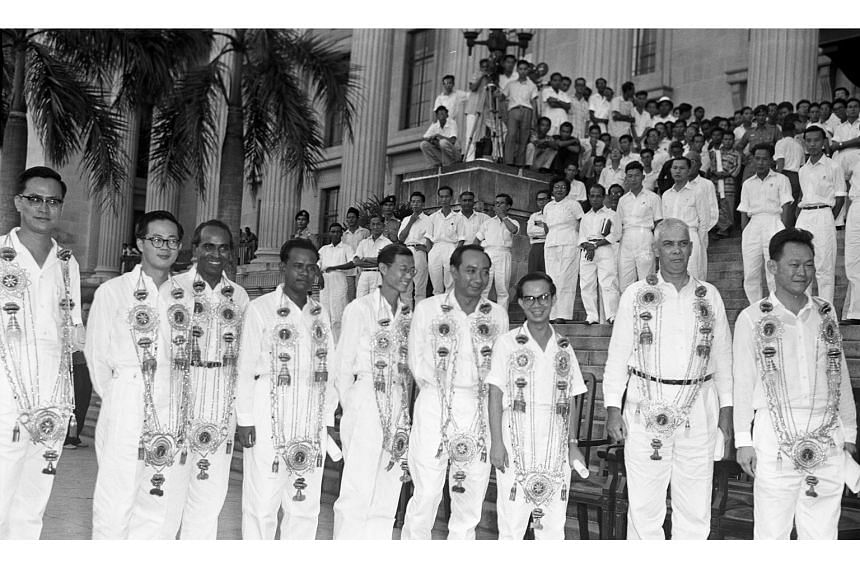 Members of the People's Action Party Cabinet outside City Hall after the swearing-in ceremony on June 5, 1959: (from left) Yong Nyuk Lin, Ong Eng Guan, S. Rajaratnam, Ahmad Ibrahim, Ong Pang Boon, Goh Keng Swee,Toh Chin Chye, K.M. Byrne and Lee Kua