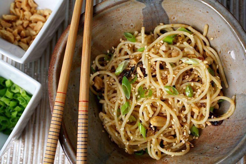 Sesame-tonnato noodles.