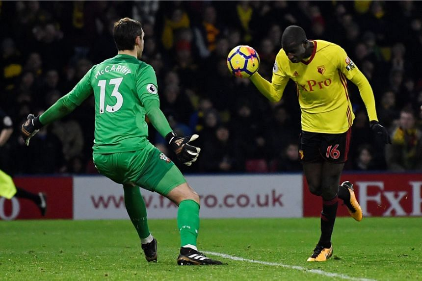 Watford's Abdoulaye Doucore sealed a 2-2 draw against Southampton in the Premier League clash on Jan 13 with what most observers regarded as a clear handball.