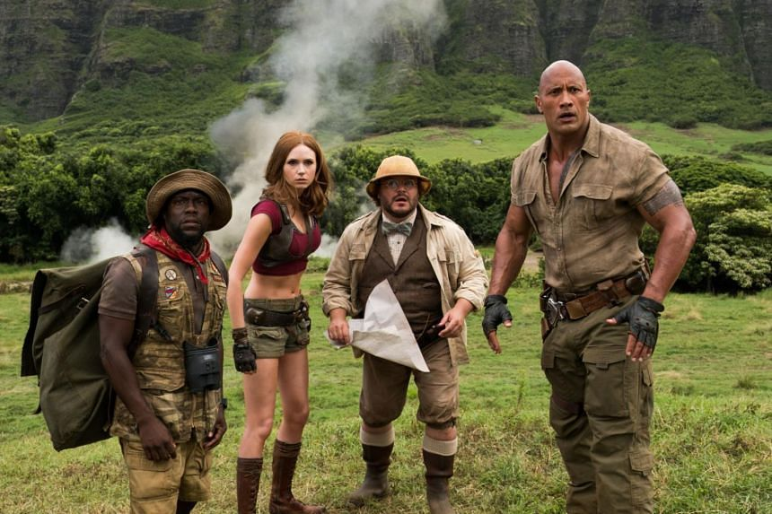 Jumanji: Welcome To The Jungle's success has cemented Kevin Hart (extreme left) and Dwayne Johnson (extreme right) as box office near-guarantees.