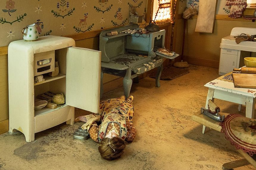 Heiress Frances Glessner Lee (above, in an undated photograph) began working on her dioramas in the early 1940s, when she was in her 60s. The Three-Room Dwelling miniature crime scene (left) is the largest and most complex work at the exhibition. Fra