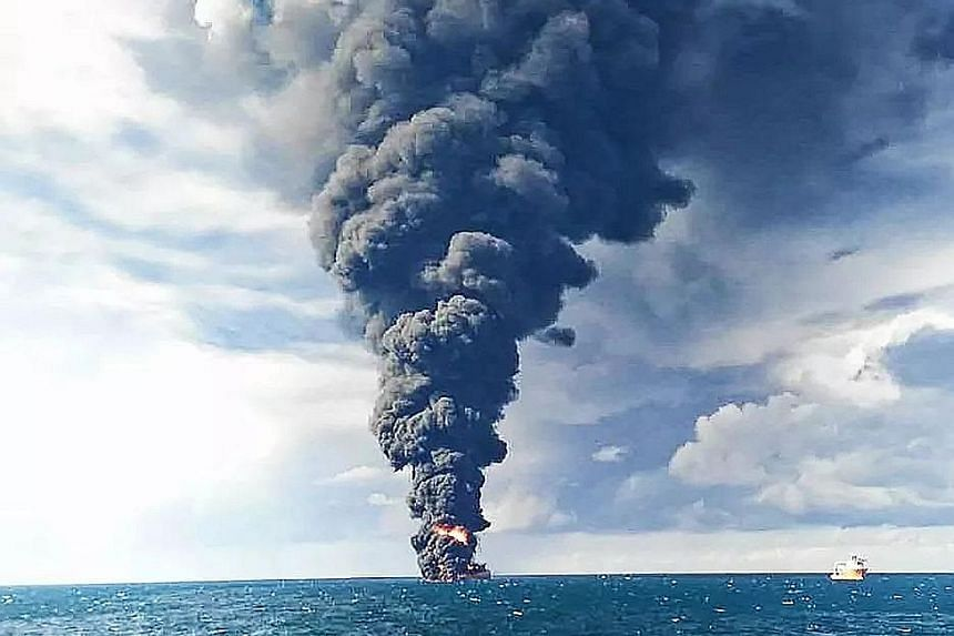 Smoke and flames rising from the burning oil tanker Sanchi at sea off the coast of eastern China yesterday.