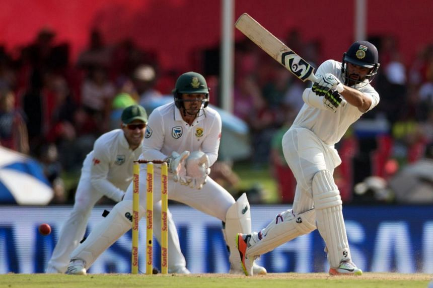 India's Parthiv Patel plays a shot during the second test match against South Africa at the Centurion Stadium in Pretoria, South Africa on Jan 14, 2018.