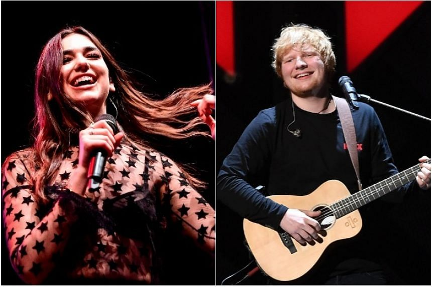 Dua Lipa (left) has five nominations including best British female solo artist while Ed Sheeran's latest bestselling album will vie with four debut offerings at this year's Brit Awards.