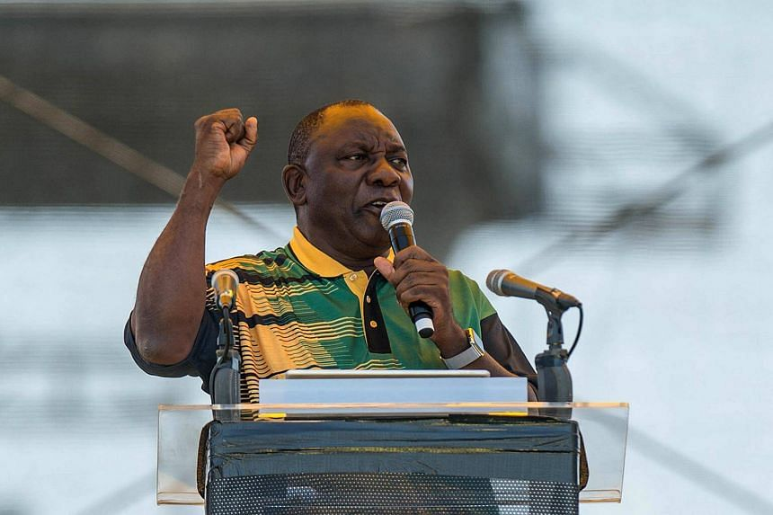 African National Congress president Cyril Ramaphosa addressing supporters at the ANC's 106th anniversary celebrations at Absa Stadium in East London, South Africa, on Saturday (Jan 13).