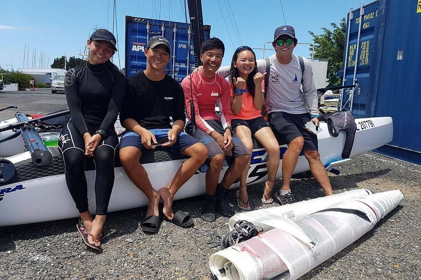 (From left) Singapore's Nacra15 sailors Sophia Rose Meyers, Chia Teck Pin, Raynn Kwok, Vicke Young and coach Terence Koh.
