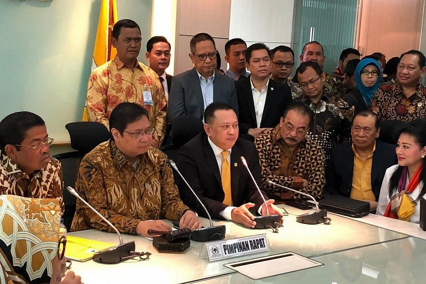 Mr Bambang Soesatyo (centre, seated, in suit) will be sworn in as Indonesia's new Speaker of Parliament, on Monday (Jan 15).