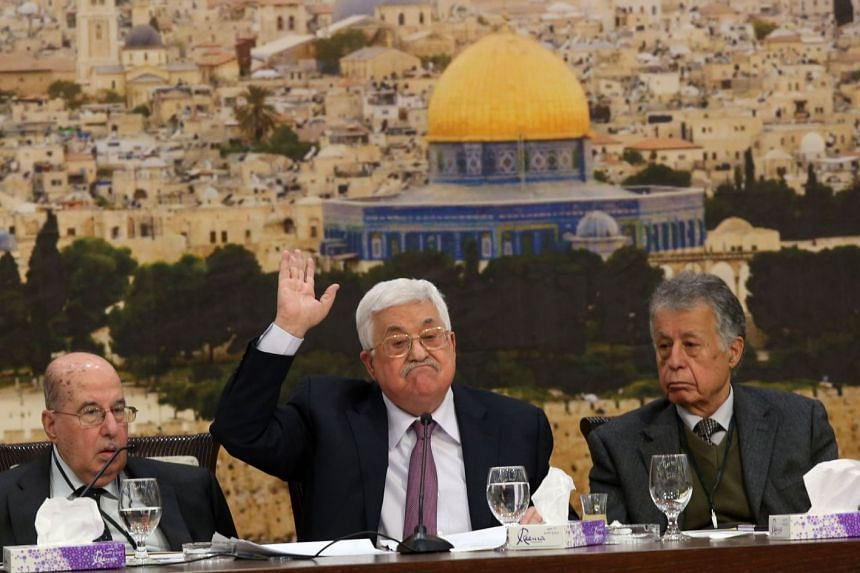 Palestinian President Mahmoud Abbas (centre) speaking at a meeting of the Palestine Liberation Organization Central Council in Ramallah on Jan 14, 2018.