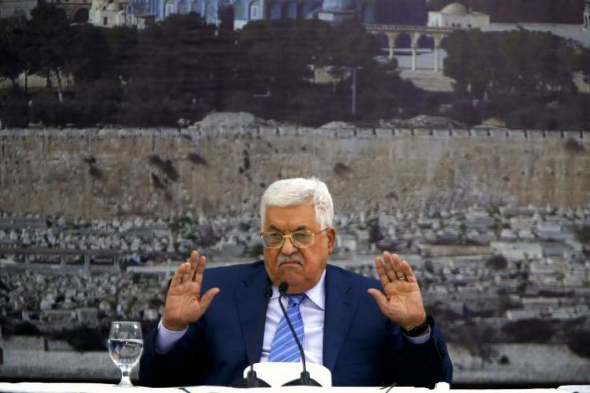 Palestinian Authority President Mahmud Abbas gives an address at a meeting of the Palestinian leadership in the West Bank city of Ramallah on Dec 18, 2017.
