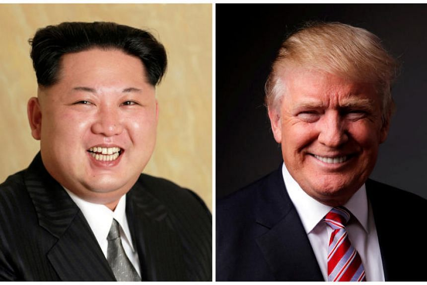 A Korean Central News Agency handout of Kim Jong Un released on May 10, 2016, and Donald Trump posing for a photo in New York City, US, May 17, 2016.