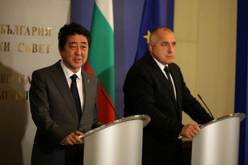 Japan's Prime Minister Shinzo Abe speaks during a joint news conference with Bulgaria's Prime Minister Boyko Borissov in Sofia, Bulgaria, on Jan 14, 2018.