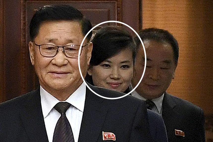 Hyon Song Wol (centre), the leader of North Korea's all-female band Moranbong, attending inter-Korean working-level talks at the border village of Panmunjom on Jan 15.