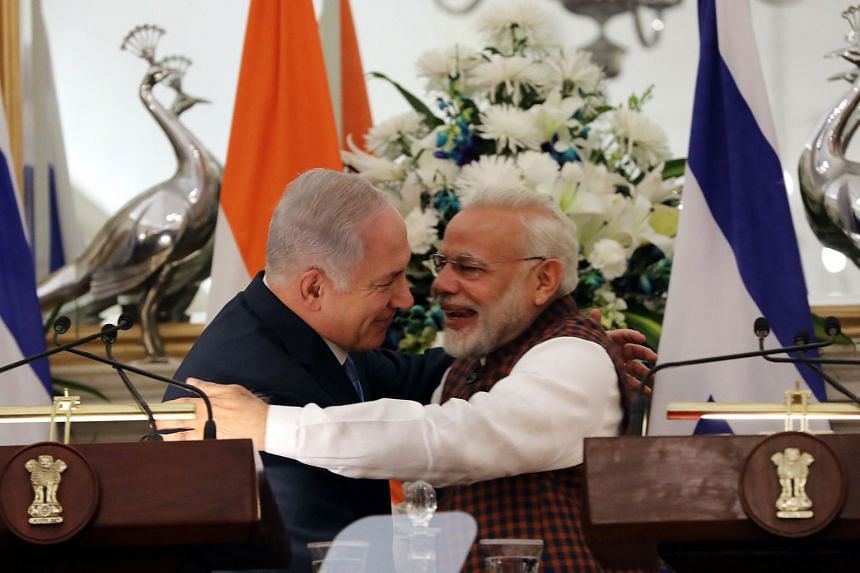 Israeli Prime Minister Benjamin Netanyahu and Indian Prime Minister Narendra Modi after a joint press conference prior to a meeting at the Hyderabad House in New Delhi on Jan 15.