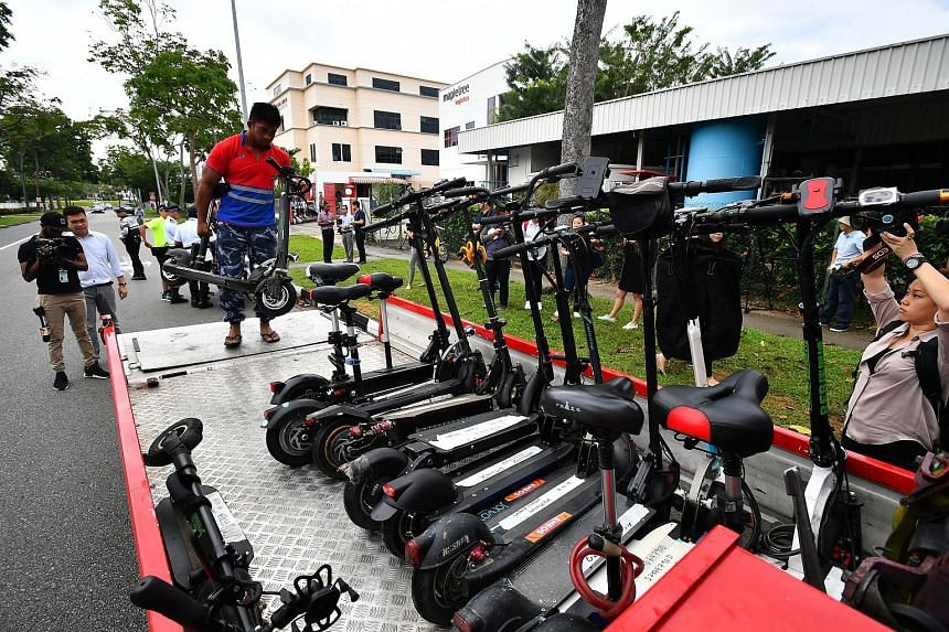 Users of personal mobility devices who were caught riding on the road yesterday had their devices seized and face a fine of $300. The joint enforcement operation by the Land Transport Authority and Traffic Police was conducted in the industrial area