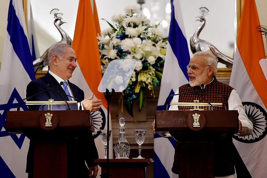 Mr Netanyahu and Mr Modi at a press conference at Hyderabad House in New Delhi yesterday. The two leaders share an easy rapport, with Mr Modi addressing Mr Netanyahu by his popular nickname Bibi.