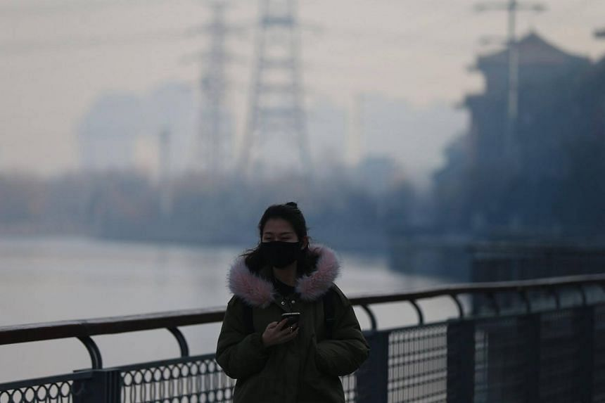 A woman wears a mask during a hazy day in Beijing, on Jan 14, 2017.