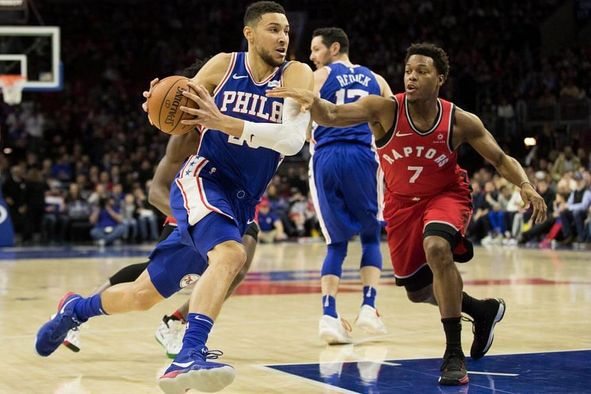 Philadelphia 76ers guard Ben Simmons drives the ball against Toronto Raptors guard Kyle Lowry during the first quarter at the Wells Fargo Center in  Philadelphia, on Jan 15, 2018.