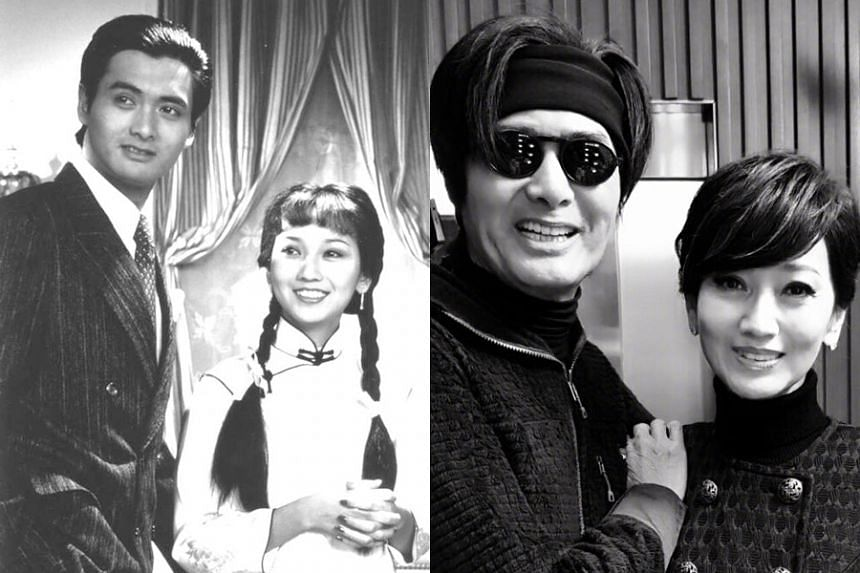 Chow Yun Fat and Angie Chiu in 1980 (left) and 2018.