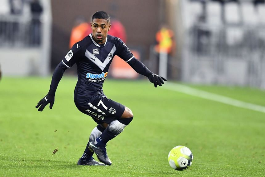 Bordeaux forward Malcom controlling the ball during the Ligue 1 match against Montpellier on Dec 20, 2017.