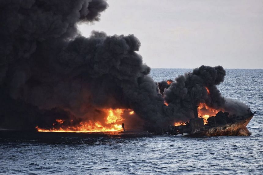 Thick smoke rising from a fire on board the oil tanker Sanchi, after it collided with another ship on Jan 14, 2017.