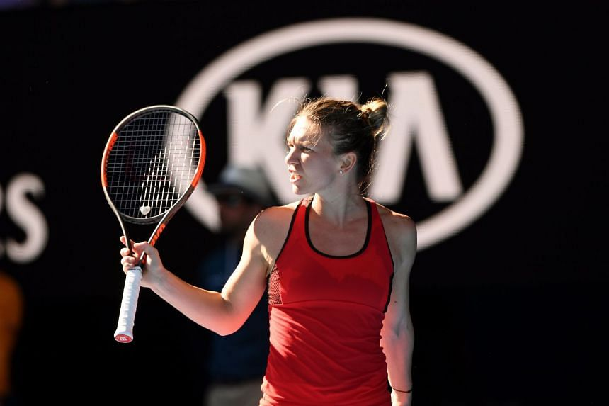 Simona Halep celebrating after defeating Destanee Aiava at the Australian Open on Jan 16, 2018.