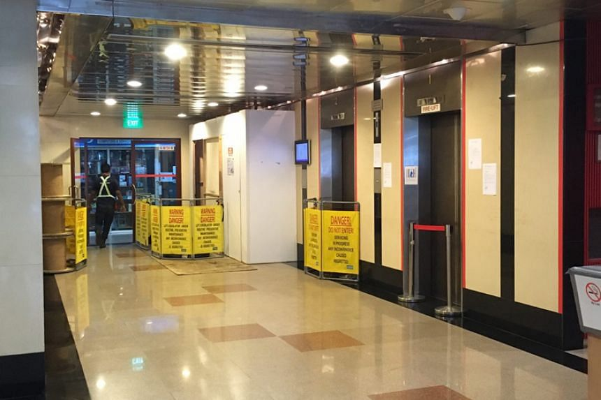 All four lifts were not in operation at the Golden Mile Tower on Jan 11, and tenants have been using the stairs to get to their offices, some as high as 22 floors up.