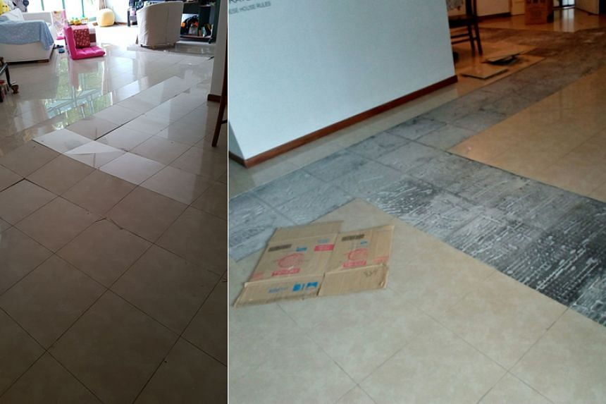 Half the tiles in Woodlands resident Lewis Sua's living room have popped and cracked. The tiles in his flat at Block 688C, Woodlands Drive 75, began popping on Jan 14.