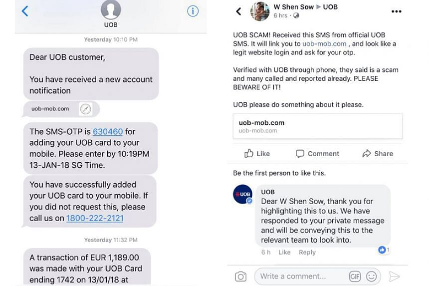 There has been a recent spate of victims being cheated after responding to SMSes supposedly sent by UOB, with seven reports lodged this month alone.