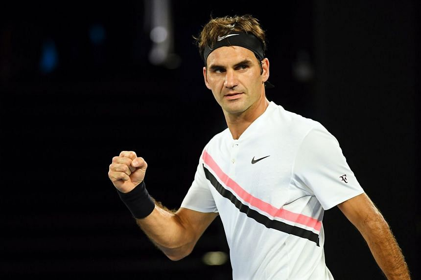 Roger Federer celebrating after defeating Aljaz Bedene at the Australian Open on Jan 16, 2018.