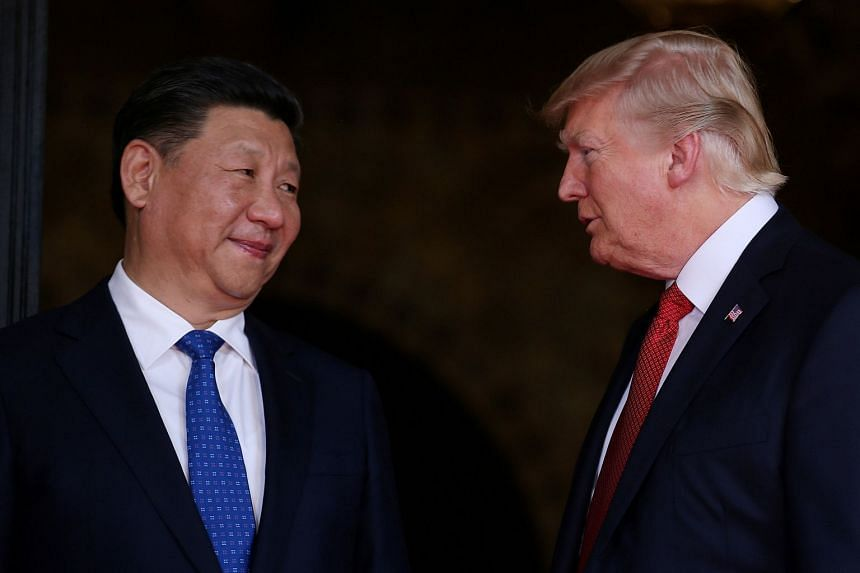 Trump welcoming Xi to his Mar-a-Lago estate in Palm Beach, Florida, in April 2017.