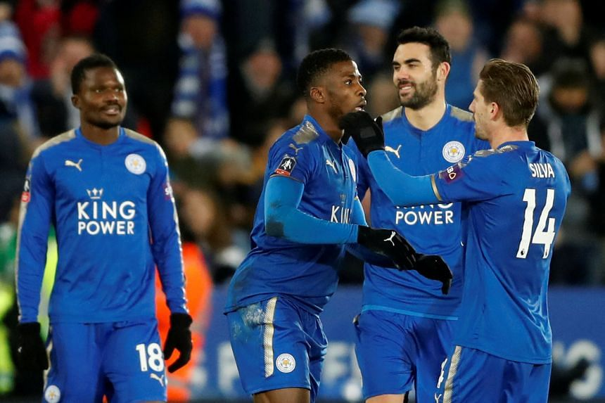 Leicester City's Kelechi Iheanacho celebrates scoring their second goal after a VAR decision.